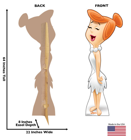Life-size cardboard standee of Wilma Flintstone with front and back dimensions.