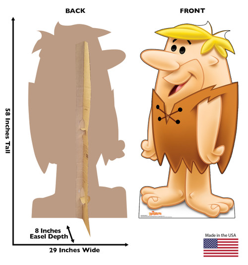 Life-size cardboard standee of Barney Rubble with front and back dimensions.