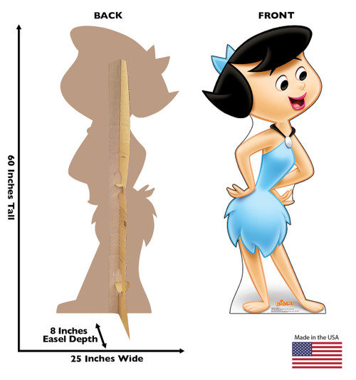 Life-size cardboard standee of Betty Rubble with front and back dimensions.