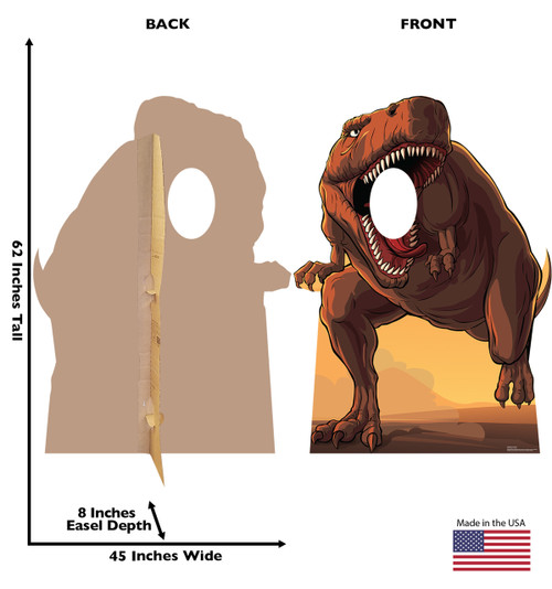 This is a life-size cardboard standin of a Dinosaur with front and back dimensions.