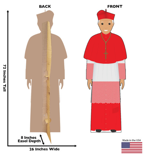 This is a life-size cardboard standee of the Pope in a red outfit with front and back dimension.