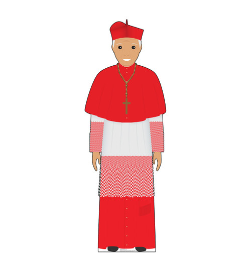 This is a life-size cardboard standee of the Pope in a red outfit.