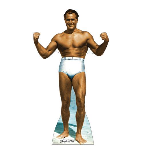 Life-size cardboard standee of Charles Atlas bodybuilder.