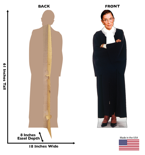 Life-size cardboard standee of Ruth Bader Ginsburg with back and front dimensions.