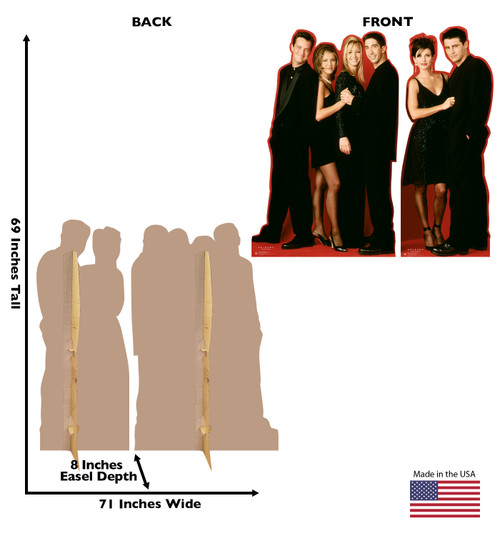 Life-size cardboard standee of the Friends characters. Sold as set of two with back and front dimension.