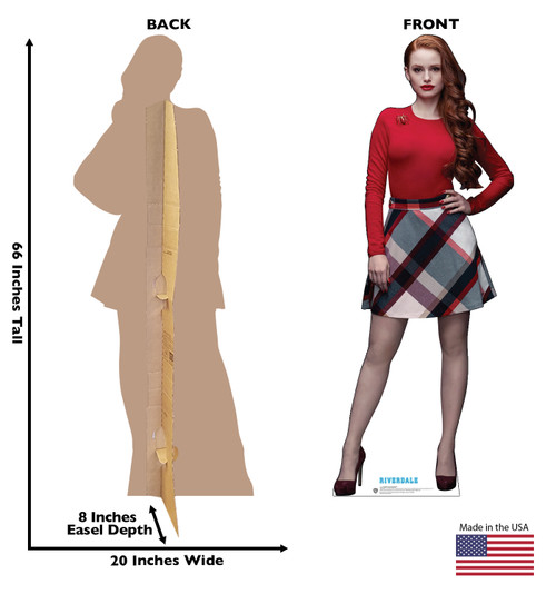 Life-size cardboard standee of Cheryl Blossom from the TV Series Riverdale with back and front dimensions.