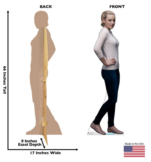 Life-size cardboard standee of Betty Cooper from the TV Series Riverdale with back and front dimensions.