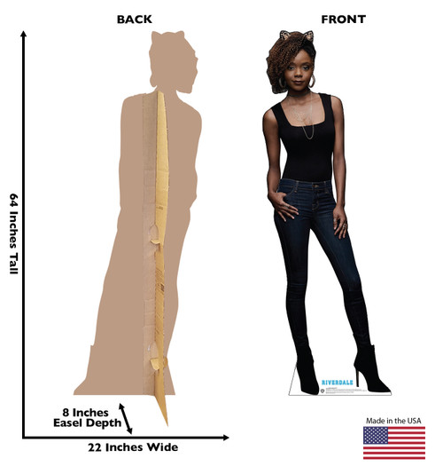Life-size cardboard standee of Josie McCoy from the TV Series Riverdale with back and front dimensions.
