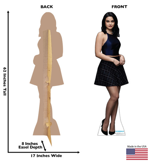 Life-size cardboard standee of Veronica Lodge from the TV Series Riverdale with back and front dimensions.