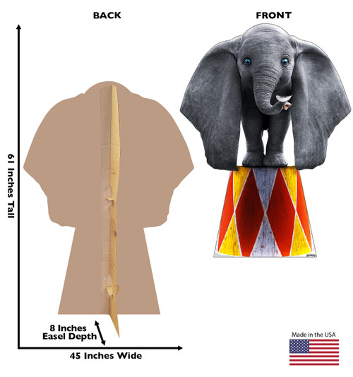 Life-size cardboard standee of Dumbo for the Disney live action movie with front and back dimensions.