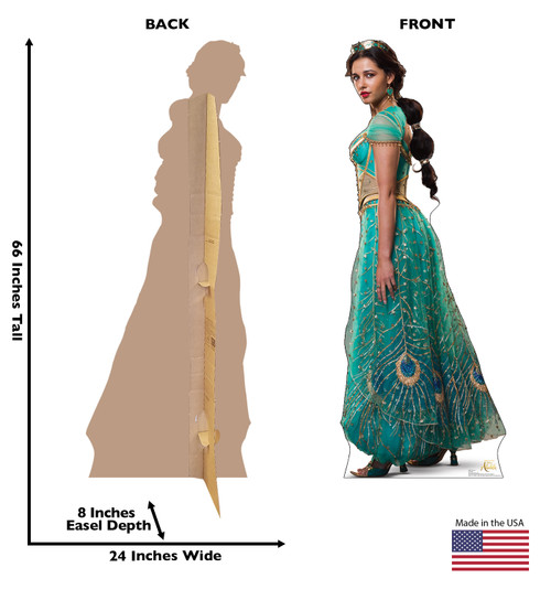 Life-size cardboard standee of Jasmine from the Disney live action Aladdin movie with front and back dimensions.