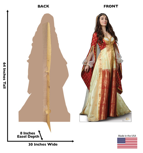 Life-size cardboard standee of Dalia from the Disney live action Aladdin movie with front and back dimensions.