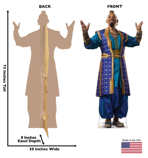 Life-size cardboard standee of Genie from the Disney live action Aladdin movie with front and back dimensions.