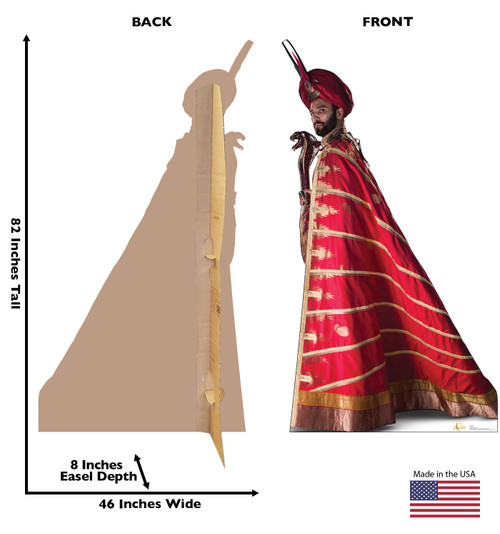 Life-size cardboard standee of Jafar from the Disney live action Aladdin movie with front and back dimensions.