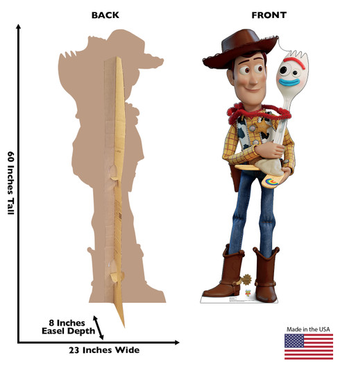 Woody and Forky Cardboard Cutout from Toy Story 4 Front and Back View