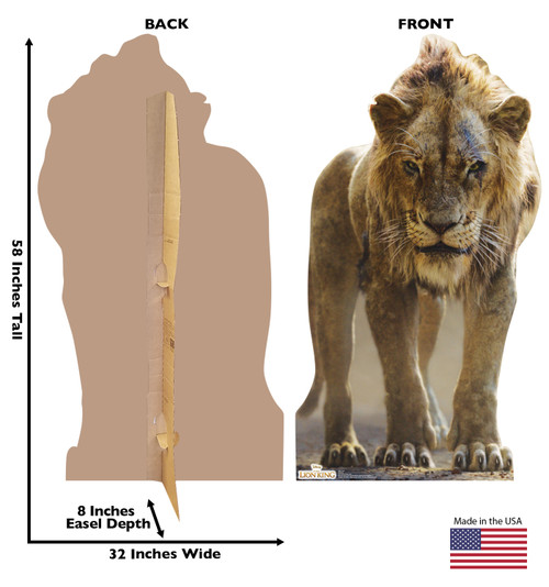 Life-size cardboard standee of Scar from Disney's live action film The Lion King Front and Back View