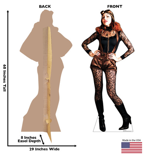 Life-size cardboard standee of Steampunk Female Front and Back View