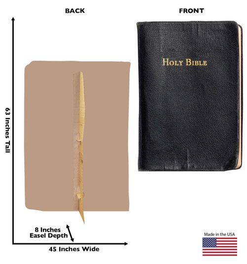 Life-size cardboard standee of The Holy Bible Front and Back View