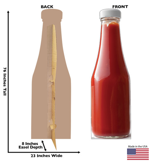 Life-size cardboard standee of a Ketchup Bottle Front and Back View