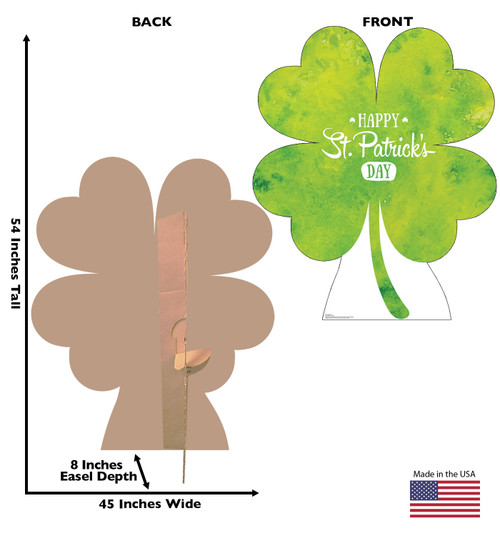Life-size cardboard standee of a Shamrock with back and front dimensions.
