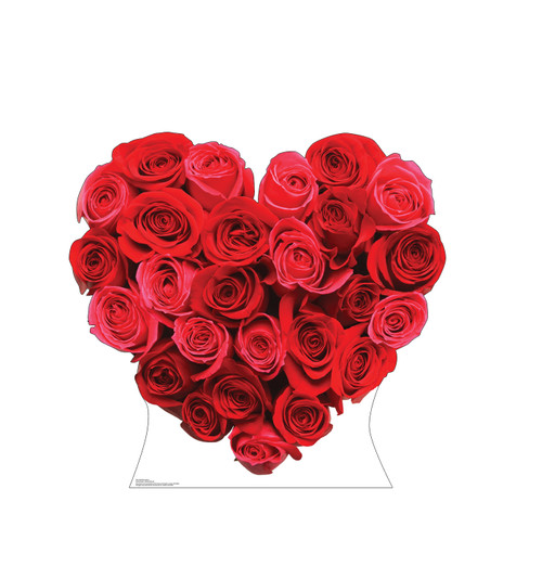 Life-size cardboard standee of Red Roses Heart Front View