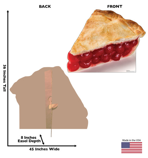 Life-size cardboard standee of a Slice of Cherry Pie Front and Back View