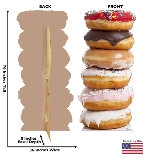 Life-size cardboard standee of a Doughnut Stack Front and Back View