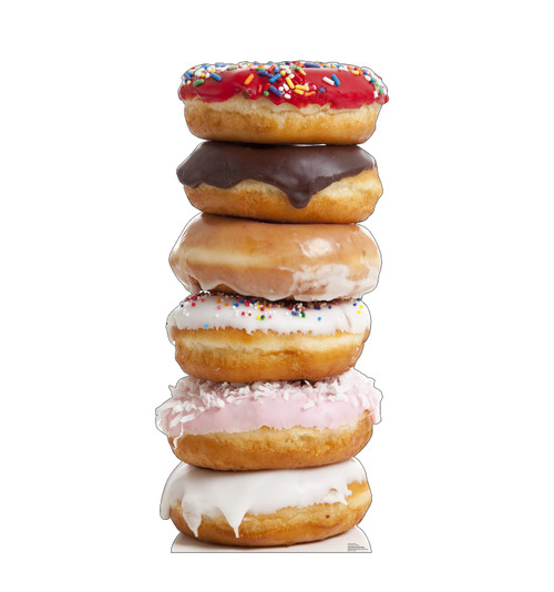 Life-size cardboard standee of a Doughnut Stack Front View