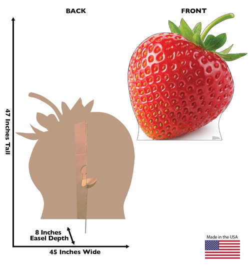 Life-size cardboard standee of a Strawberry Front and Back View