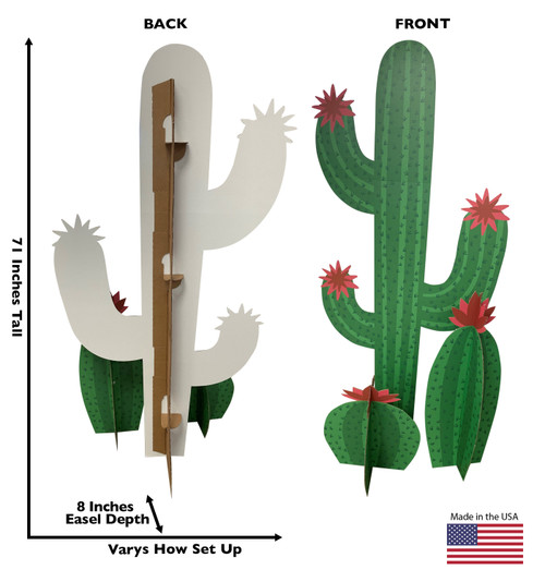 Life-size cardboard standee of a Cactus Grouping  Front and Back View
