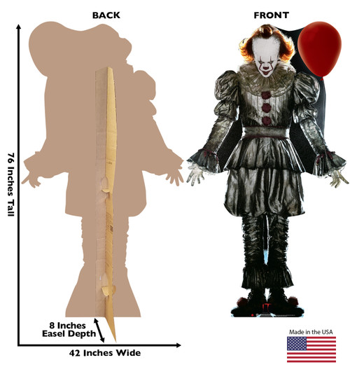 Pennywise with Balloon from IT Chapter 2 Movie 2019 Cardboard Front and Back View