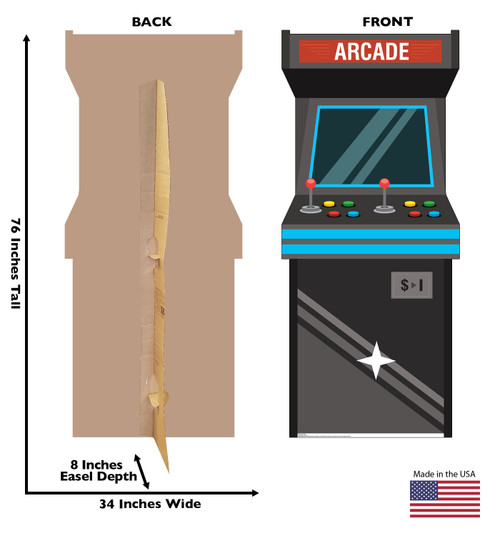 Life-size cardboard standee of an Arcade Game with back and front dimensions.