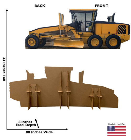 Life-size cardboard standee of a construction grader with back and front dimensions.