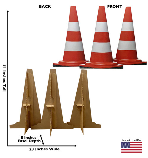 Life-size cardboard standee of construction cones (set of 3)  with back and front dimensions.
