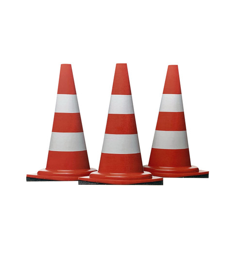 Life-size cardboard standee of construction cones (set of 3).