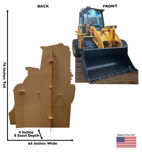 Life-size cardboard standee of construction front loader with back and front dimensions.
