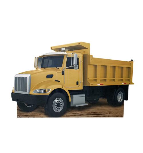 Life-size cardboard standee of construction dump truck.