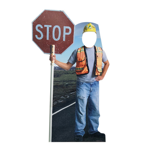 Life-size cardboard standee of Construction Worker Stop Sign Standin.