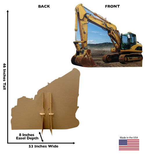 Life-size cardboard standee of a Construction Excavator Standee with back and front dimensions.