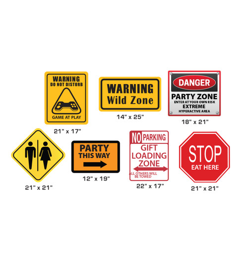 Cardboard party signs with dimensions.