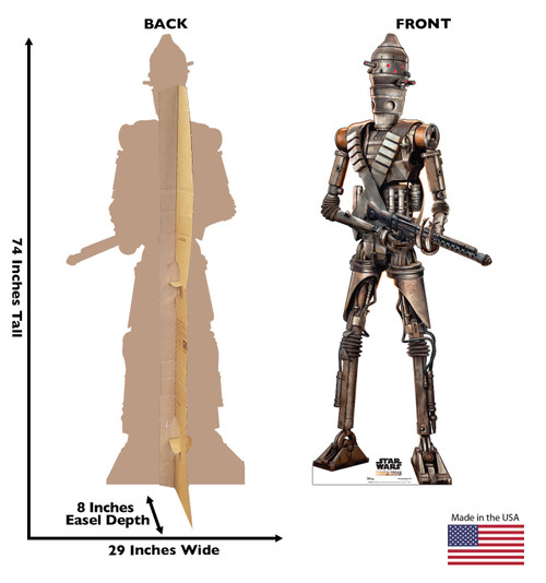 Life-size cardboard standee of IG-11 fromThe Mandalorian with back and front dimensions.
