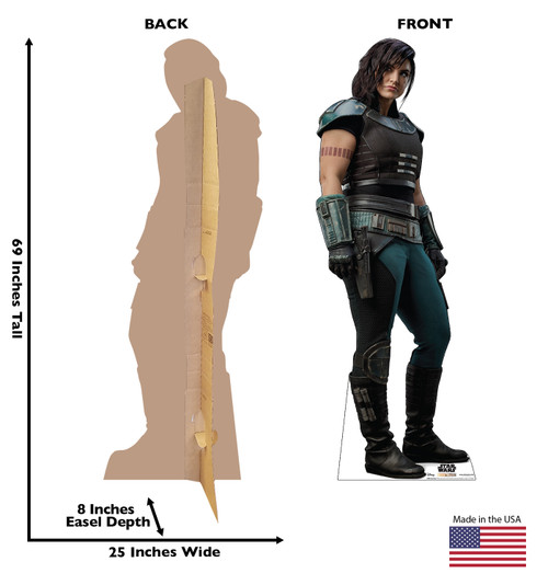 Life-size cardboard standee of Cara Dune fromThe Mandalorian with back and front dimensions.
