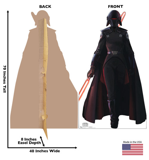 Life-size cardboard standee of Inquisitor from Jedi Fallen Order with back and front dimensions.