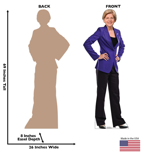 Life-size cardboard standee of Senator Elizabeth Warren with back and front dimensions.