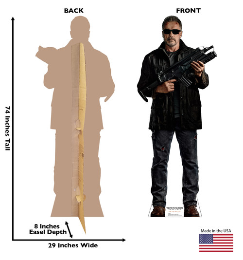 Life-size cardboard standee of T-800 from the Terminator Dark Fate movie with front and back dimensions.