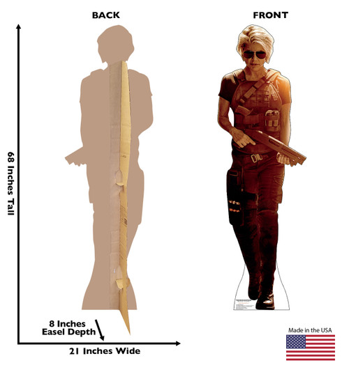 Life-size cardboard standee of Sarah Connor from the Terminator Dark Fate movie with front and back dimensions.