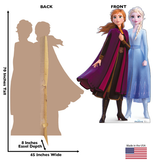 Life-size cardboard standee of Anna & Elsa from Disney's Frozen 2) with back and front dimensions.