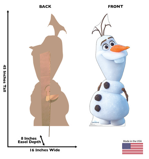 Life-size cardboard standee of Olaf from Disney's Frozen 2) with back and front dimensions.