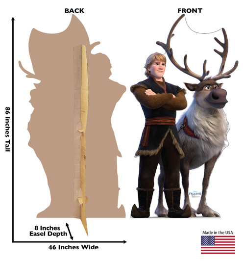 Life-size cardboard standee of Kristoff & Sven from Disney's Frozen 2) with back and front dimensions.