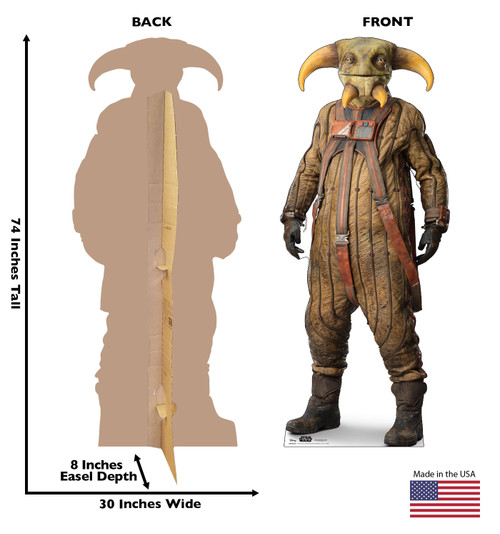 Life-size cardboard standee of BOOLIO™ (Star Wars IX) with back and front dimensions.